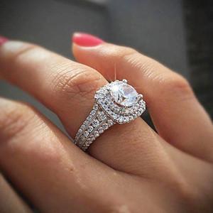 De lujo a todo color de circón Espumoso plata de la CZ Anillo de boda anillos de compromiso para los regalos del Día de San Valentín joyería Mujeres Square Ring