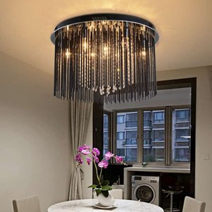 Estilo de Milão Rodada Levou lâmpada de Teto de cristal para sala de jantar novidade iluminação Roxo vermelho lustre de cristal G4 quarto bar luzes de teto