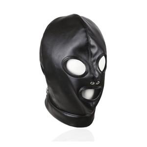 BDSM Bondage Capô Olhos Boca Aberta Livre Respiração Falso Couro Escravidão Engrenagem Máscara Focinho para Privação Jogar Sexual Gimp B0306033