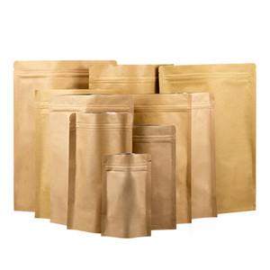 Soporte Reclose la bolsa de papel de aluminio Kraft / Paquete de caramelos, té, bolsas de frutas secas / Bolsa de papel Kraft amarillo grueso