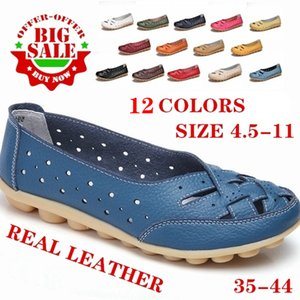 Summer Women Flats Genuine Leather Shoes Flat Loafers Casual Ladies Slip Cow Driving Boat Shoes Footwear Sandals