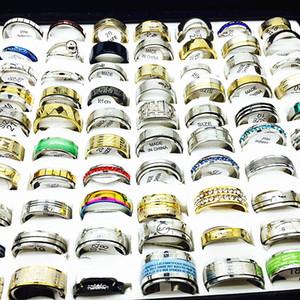 lotti all'ingrosso alla rinfusa 100pcs donne anelli impostati in acciaio paio nero argento uomini anello di nozze regalo gioielli party band dropshipping oro acciaio