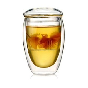 Tea Cup Heat Resistant Double Layer Glass Crystal Clear Tea Mug with Infuser