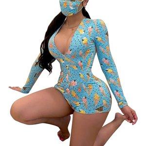 Женская Sexy Глубокий V-образным вырезом животных Bodysuit с длинным рукавом Bodysuit Эластичный комбинезон Кнопка Короткие Комбинезон Пижамы Комбинезон