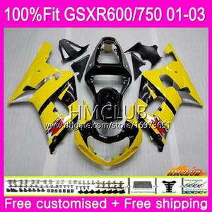 Injection For SUZUKI GSXR 600 750 GSX-R750 Yellow black GSXR600 01 02 03 4HM.1 GSX R600 GSX R750 K1 GSXR-600 GSXR750 2001 2002 2003 Fairing