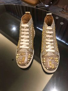 Designer shoes men women Chaussures Studded Spike Sneakers Triple Rivets Red Soles Genuine Leather Gold spiked flat red bottoms casual shoes