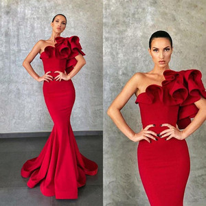 Elie Saab 2020 Elegant Mermaid Red Vestidos Ruffles o chão Formal Runway Party Dress Evening Vestidos Wear Celebrity Dress Prom