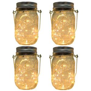 Solar Mason Jar ilumina acima Lid 20LEDs Cordas Fada Luzes da estrela Screw em prata Tampas para Mason frascos de vidro de Natal Jardim Lights