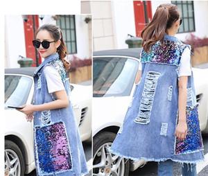 Denim Escudo de primavera y verano de las mujeres prendas de vestir exteriores de luz azul de las señoras abrigos verano de las mujeres diseñador Jean chaleco de lentejuelas