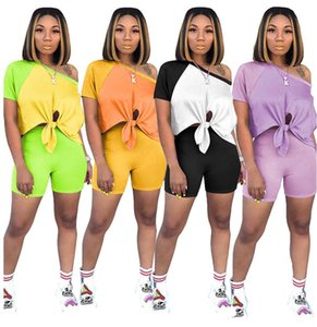 Women Sports Suit Designer Short Sleeve Crop Top T Shirt Shorts Set Patchwork Color Brand Lace Two Piece Outfits Luxury Tracksuit D6508