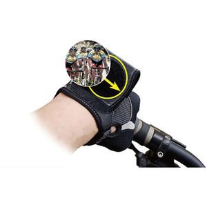 دراجة المعصم مرآة الاسوره مع الجيب عملية تعديل للرؤية الخلفية غير زلة المحمولة النايلون من السهل تطبيق قفازات نصف الاصبع
