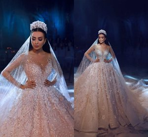 Vestidos de novia de lujo con mangas largas y con cordones Vestidos de novia 2019 Con cuentas 3D con encaje de flores Vestidos de novia con vestidos de novia de talla grande 100% Imagen real
