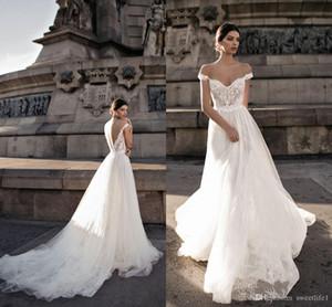 Gali Karten 2020 Elegant Off the Shoulder Lace Wedding Dresses A Line Backless Puffy Tulle Wedding Dresses Bridal Gowns