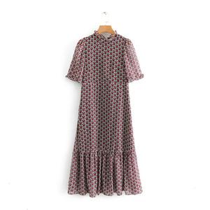 Ropa de mujer vestido del diseñador de moda de las mujeres Impresión del corazón volantes vestido plisado cuello manga corta dulce femenino ocasional Vestidos Be213