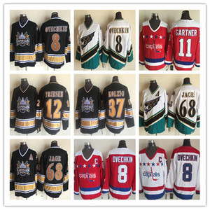 Alex Ovechkin Jerseys 1990 Vintage Washington Capitals 37 Kolzig 12 Jeff Friesen 68 Jaromir Jagr CCM Classic Hockey مخيط أحمر أبيض أسود