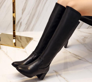 2019 Women's boots in winter with New style High heel Coarse heel pointed end@2055