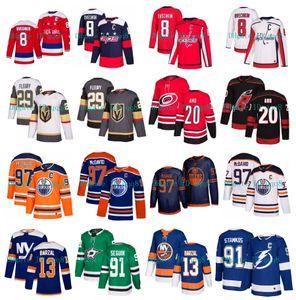 Connor McDavid Edmonton Oilers Jersey Alex Ovechkin capitales de Washington Marc-Andre Fleury Stamkos Mathew Barzal huracanes Aho NHL Hockey