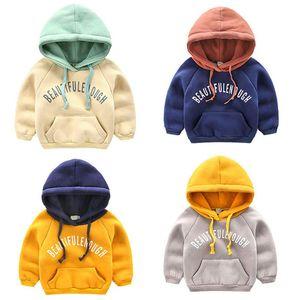 2018 Sonbahar Ve Kış Yeni Çocuk Kapşonlu Giyim Bebek Boys Kalınlaşma ile Pocket Coats 1-4Y T200211 Triko Isınma Boys Artı Kadife