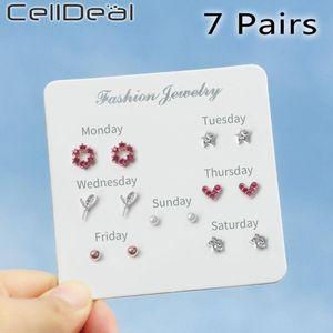 CELLDEAL 7 пара Недельных серег Студенты Простого Versatile Star Moon Fresh сереги Luxury Young Jewelry Cute