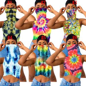 Kadın T Gömlek Tasarımcı Tie-boya Çiçek Baskılı Yelek Kolsuz Tshirts ile Yüz Maskesi Mahsul Top Yaz Lüks Lady Elbise D6905