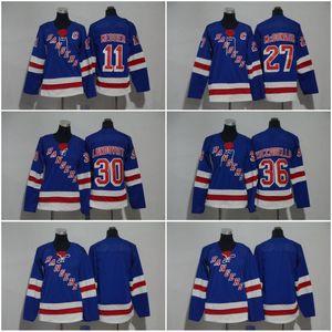 Erkekler Kadın Gençler New York Rangers 27 Ryan McDonagh 11 Mark Messier 30 Henrik Lundqvist 36 Mats Zuccarello Blank Mavi Jersey Tüm stiched