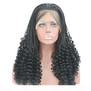 Fashion 3x Box Braided Synthetic Wigs Cospaly Curly Root Full Lace Front Wigs Hand Tied Heat Resistant Fiber Hair Wig Black for Women
