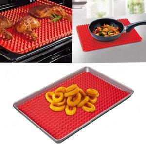 Olio barbecue Piramide Pan Bakeware antiaderente cottura del silicone Mats Pad Stampi Forno a microonde Red Teglia strato della cucina di cottura Strumenti