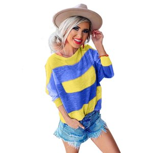 Fashion Designer Sweater 2019 Camiseta de manga larga con estampado de rayas para mujer Autumn Fashion New Base Long T ajustada