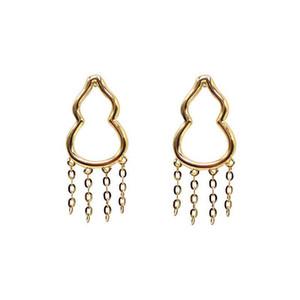 Fine Jewelry Gold earring 18k Solid Yellow Gold Gourd shaped tassel earrings with studs earrings jewelry for Women jewelry earring wholesal