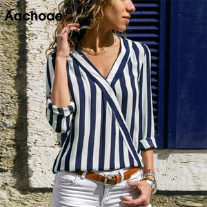 Aachoae Women Striped Blouse Shirt Long Sleeve V-neck Shirts Casual Tops Blouse et Chemisier Femme Blusas Mujer de Moda 2020 CX200530