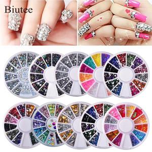 Biutee의 10PCS / 설정 손톱 장식 네일 아트 다이아몬드 박스 빛나는 다이아몬드 아크릴 상자 다양 한 색상의 네일 장식 키트 3D