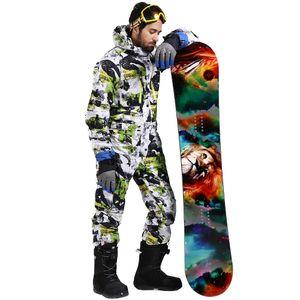 SAENSHING التزلج على الجليد السراويل الشتاء دعوى التزلج الرجال بذلة قطعة واحدة الثلج على الجليد سترة مضادة للماء دافئة سميكة التزلج الجبلية