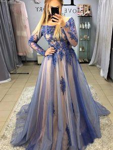 Elegant Long Sleeve Prom Dresses Scoop Applique Crystal Beading Evening Wear Gowns Dubai Vintage Party Dress Dubai Abaya Kaftan Kleider