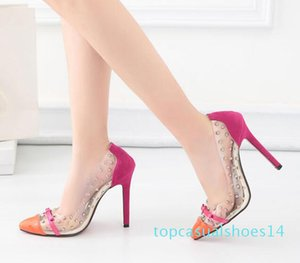 Hot Sale Patchwork Red Bottom High Heels Rivets Studded Shoes Sexy Women Pumps size 35 to 40 t14