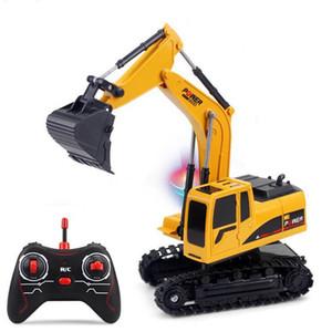 RC coche de juguete 2.4Ghz 6 Channel 1:24 RC RC excavadora Ingeniería coche de la aleación y plástico Excavadora RTR Para niños caja de regalo de Navidad