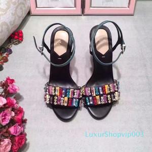 Kristalle Frauen Gladiator Sandalen mujers 2018 Female Straps Fashion Sommer Chunky Absatz-Sandelholz-geöffnete Zehe-Damen Hochzeit Mode Schuhe