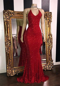 Sparkly Red Paillettes Prom Dresses 2019 Halter Mermaid lungo abiti da ballo low back arabo vestito da partito BC1085