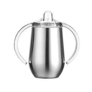 10 Unzen Edelstahl-Schnabeltasse mit Doppelgriff Insulated Kaffeetasse Vacuum Bier Milk Cup Baby-Cups
