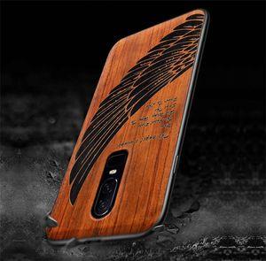 all'ingrosso OnePlus 6 Custodia su misura Funda Real Wood Uno più 6 Caso 5t Rosewood TPU antiurto di copertura posteriore del telefono Shell Oneplus6