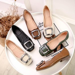 Hot Sale- Shoes Womens 2020 New Low-Cut Flat Shoes Womens Square Head Casual Peas Shoes