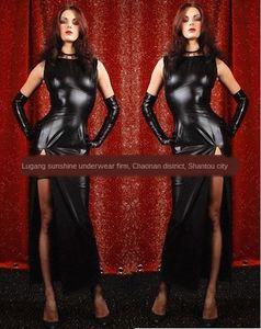 Patent leather buttocks sexy split nightclub performance DS long skirt Dress long skirt clothes hanging neck split Star dress