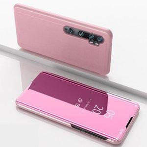 샤오 미 노트 (10)에 대한 고급 도금 플립 스마트 뷰 미러 맑고 투명 전화 케이스 전체 커버 킥 PU 가죽