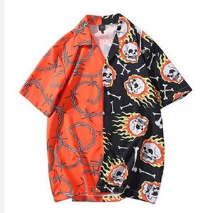 2020 Hip Hop Camicia Streetwear Uomini Camicia hawaiana Fire Skull Catena Harajuku Beach shirt HipHop camice estate Top manica corta