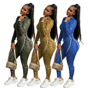 Joint de Split Slim Femmes Designer Survêtements Mode manches longues à capuche Cap Camouflage Casual Femmes 2PCS Ensembles