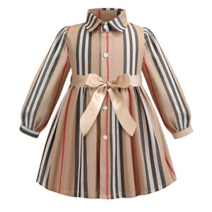 Summer Girls Dress manches courtes Turn Down col haut qualité Stripped robe Vêtements fille