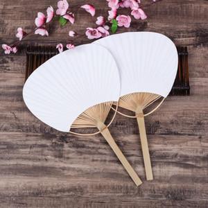 Paddle mão Ventiladores com quadro de bambu e Handle Wedding Party Favors presentes 100pcs Fan Paper Paddle ventilador espanhol