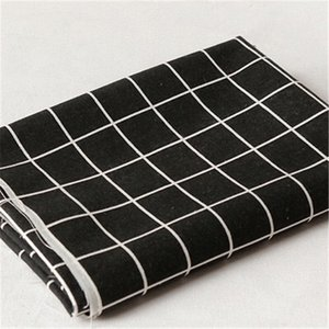 100*150cm Modern black and white gray plaid geometric printed linen cotton fabric for tablecloth curtain bed linen fabric