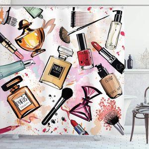 Fashion Shower Curtain Cosmetic and Makeup Theme Pattern with Perfume Lipstick Nail Polish Brush Modern Bathroom Decor Set