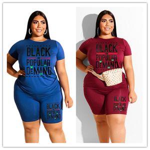 Os mais recentes Mulheres Plus Size Treino roupas de grife camiseta manga curta Tops Shorts Suit 2pcs Outfits Sportwear de luxo roupa ocasional D6908