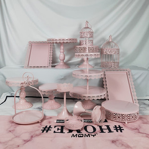 14 Stücke Hochzeit Kristall 3 Tier Platte Großhandel Obst Vintage Birdcage Runde Gold Rosa Weiß Hängende Metall Jäten Eisen Party Cake Stand Set